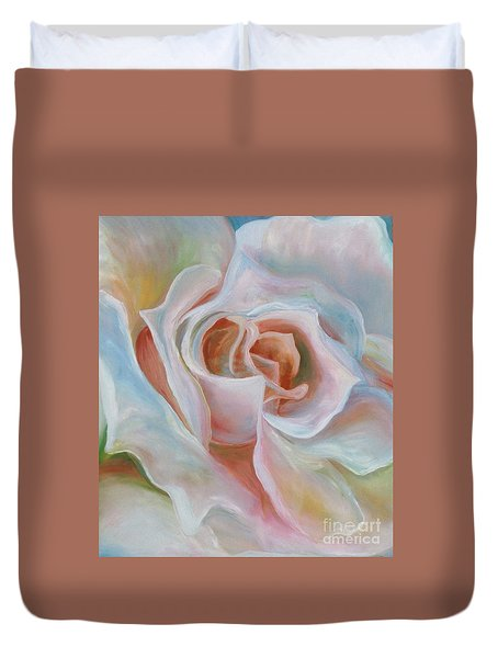 Duvet Cover featuring the painting White Rose by Donna Hall