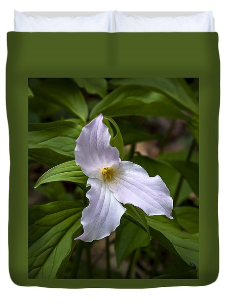 Duvet Cover featuring the photograph White Trillium by Tyson and Kathy Smith