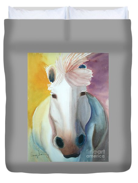 White Work Horse Duvet Cover