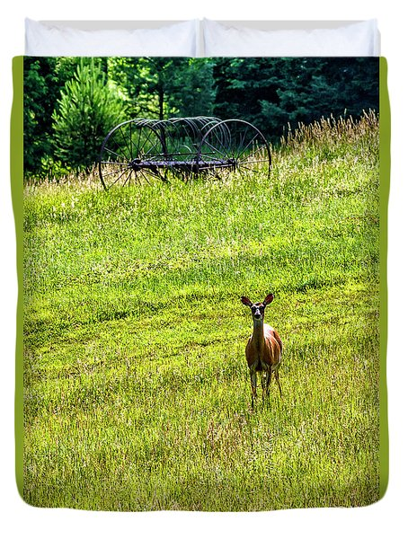 Duvet Cover featuring the photograph Whitetail Deer And Hay Rake by Thomas R Fletcher