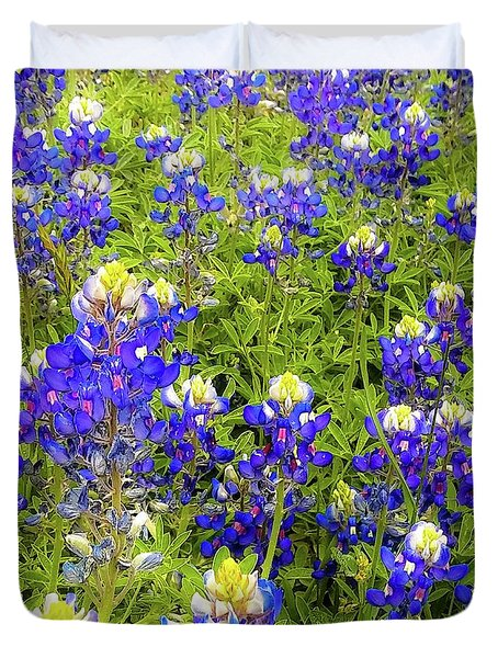 Wild Bluebonnets Blooming Duvet Cover