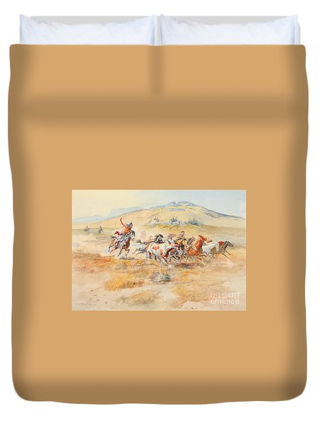 Duvet Cover featuring the painting Wild Horses by Celestial Images