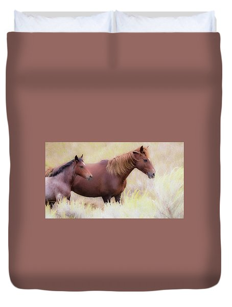 Duvet Cover featuring the photograph Wild Horses  by Kelly Marquardt