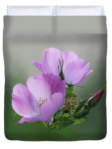 Duvet Cover featuring the photograph Wild Roses by Angie Vogel