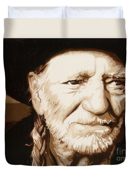 Duvet Cover featuring the painting Willie Nelson by Ashley Price