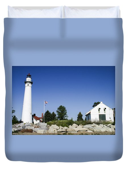 Duvet Cover featuring the photograph Wind Point Lighthouse  by Ricky L Jones
