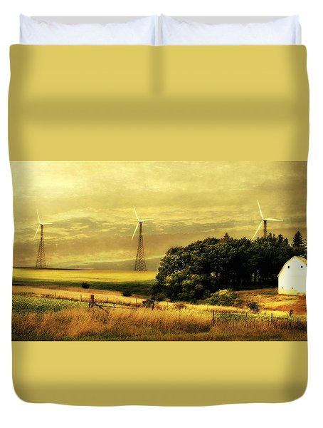 Duvet Cover featuring the photograph Wind Turbines by Julie Hamilton