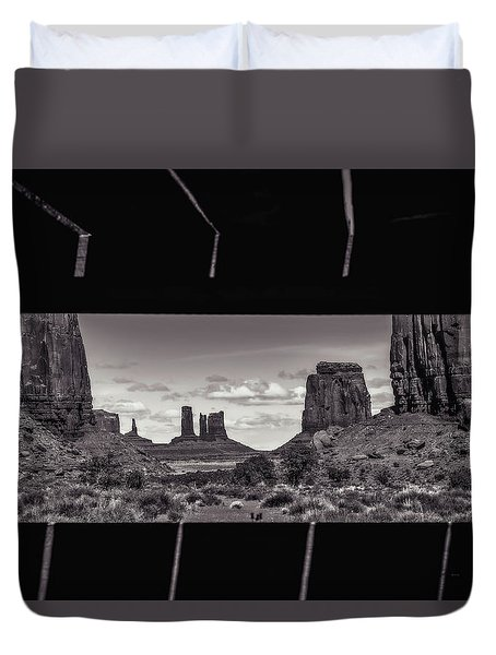 Duvet Cover featuring the photograph Window Into Monument Valley by Eduard Moldoveanu