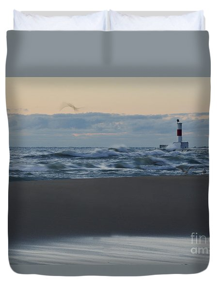 Windy Waukegan Beach Duvet Cover