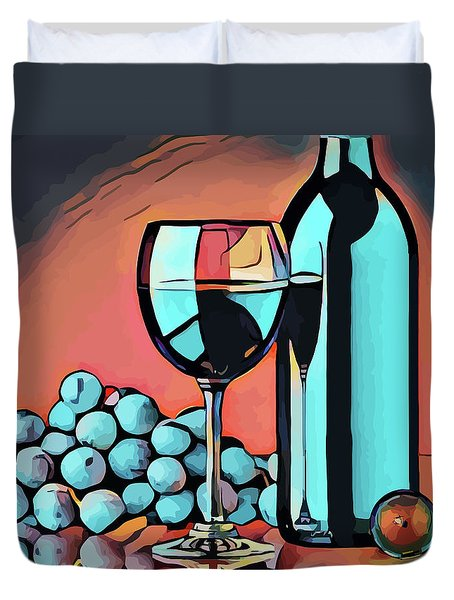Wine Glass Bottle And Grapes Abstract Pop Art Duvet Cover
