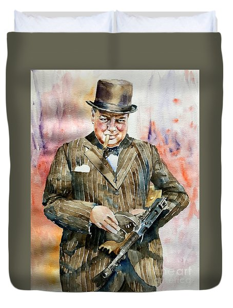 Winston Churchill Portrait Duvet Cover