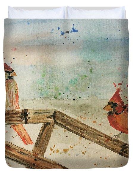 Winter Cardinals Duvet Cover