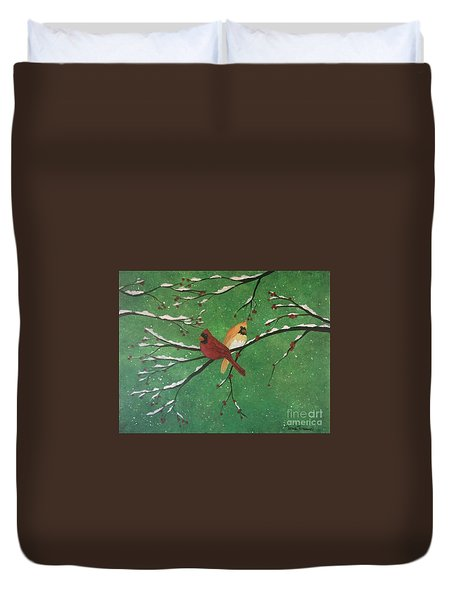 Duvet Cover featuring the painting Winter Cardinals by Denise Tomasura
