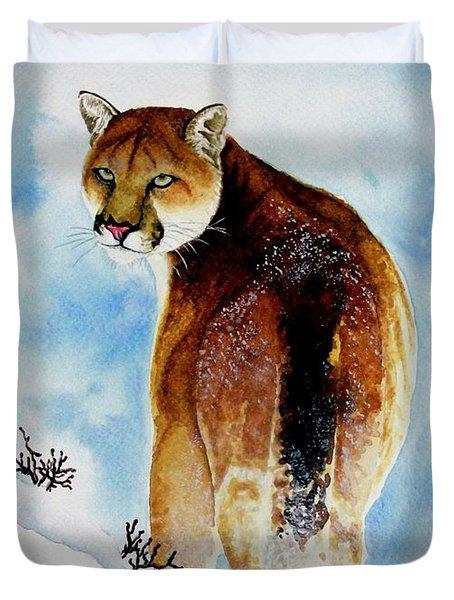 Winter Cougar Duvet Cover