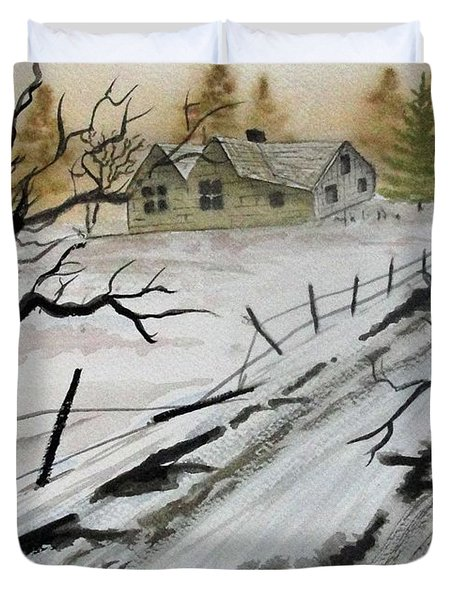 Winter Farmhouse Duvet Cover by Jimmy Smith