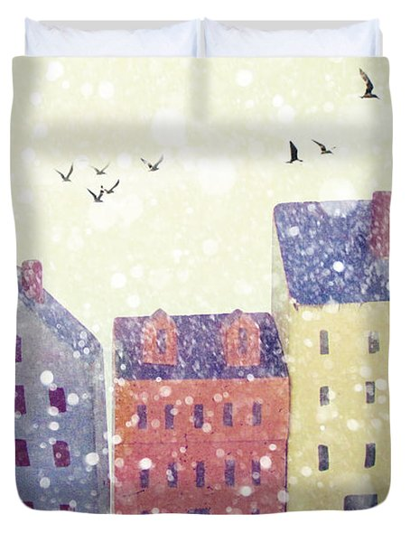 Duvet Cover featuring the photograph Winter In Nantucket by Amy Tyler