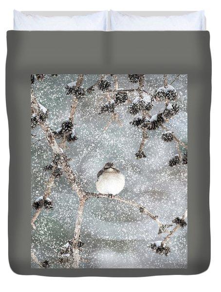 Winter Mockingbird Duvet Cover