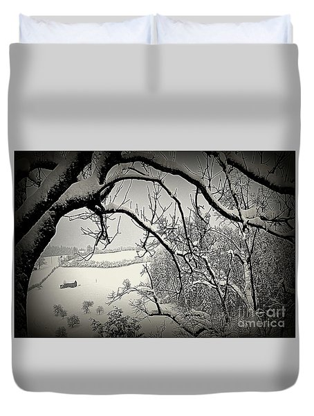 Duvet Cover featuring the photograph Winter Scene In Switzerland by Susanne Van Hulst