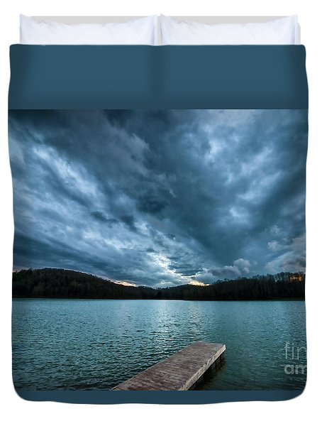Duvet Cover featuring the photograph Winter Storm Clouds by Thomas R Fletcher