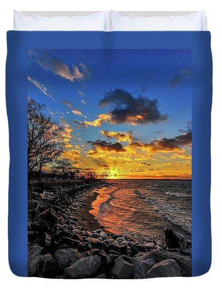 Winter Sunset On A Chesapeake Bay Beach Duvet Cover