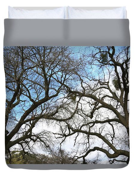 Duvet Cover featuring the photograph Winter Trees At Fort Tejon Lebec California  by Floyd Snyder