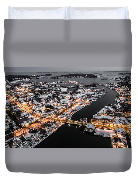 Winter Twilight In Mystic Connecticut Duvet Cover