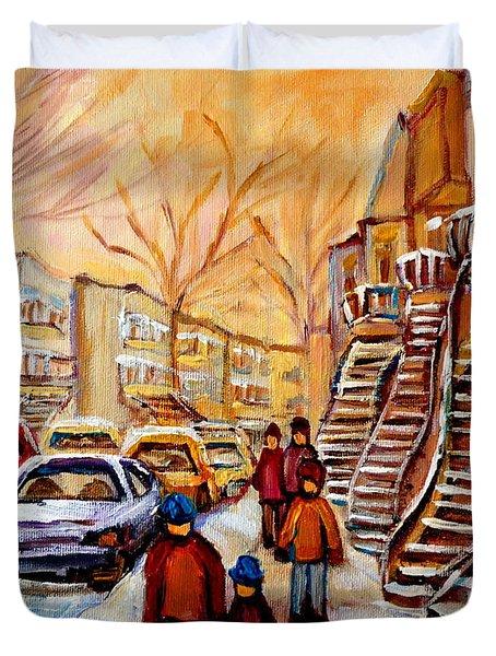 Winter Walk In Montreal Duvet Cover by Carole Spandau