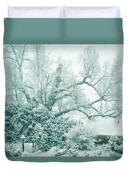 Duvet Cover featuring the photograph Winter Wonderland In Switzerland by Susanne Van Hulst