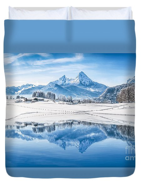 Winter Wonderland In The Alps Duvet Cover
