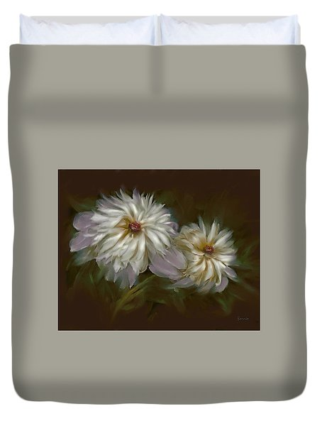 Duvet Cover featuring the digital art Withering Peony by Bonnie Willis