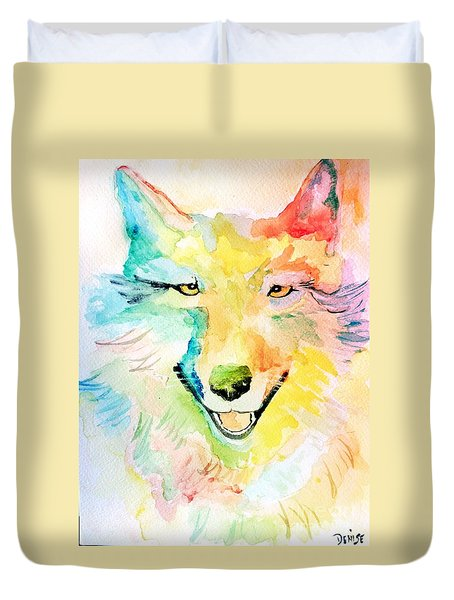 Duvet Cover featuring the painting Wolfie by Denise Tomasura
