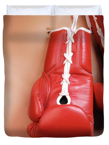 Woman With Boxing Gloves Duvet Cover by Oleksiy Maksymenko