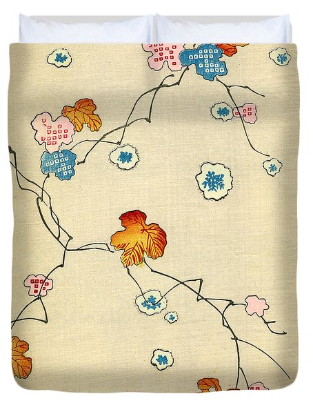 Woodblock Print Of Fall Leaves Duvet Cover