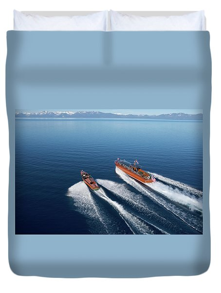 Wooden Boat Aerial Duvet Cover by Steven Lapkin