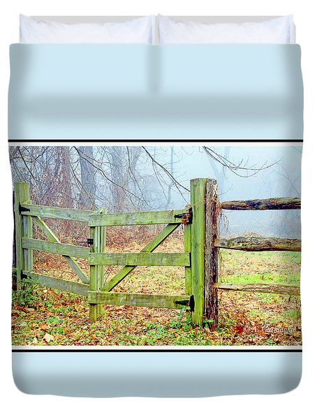 Wooden Fence On A Foggy Morning Duvet Cover