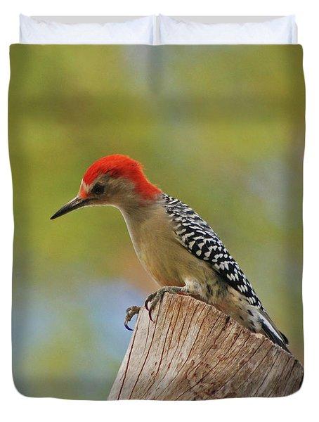 Duvet Cover featuring the digital art 1- Woodpecker by Joseph Keane