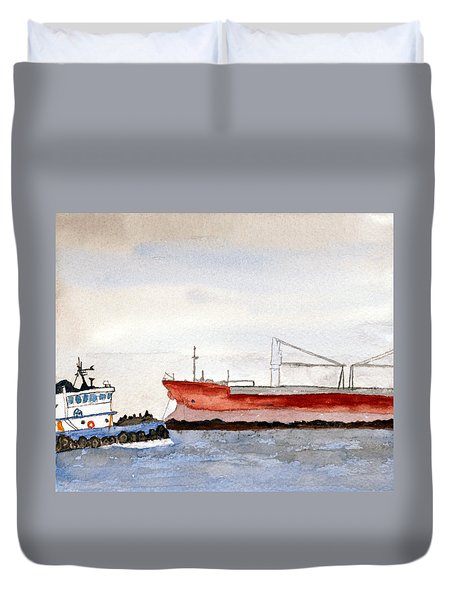 Working The Bay Duvet Cover by R Kyllo
