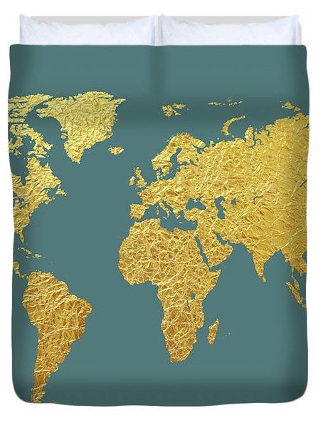 World Map Gold Foil Duvet Cover