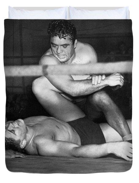 Wrestling Champion Jim Londos Duvet Cover