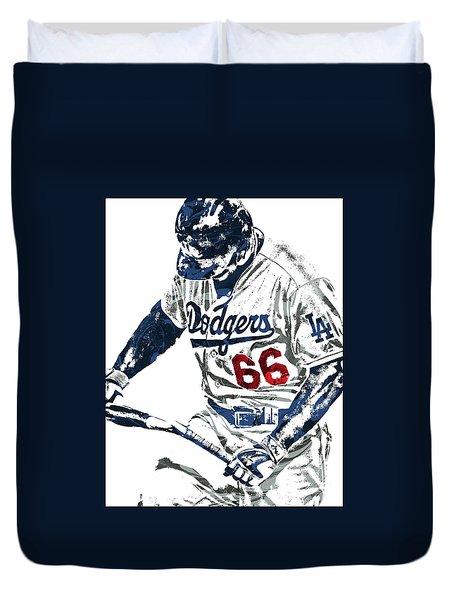 Duvet Cover featuring the mixed media Yasiel Puig Los Angeles Dodgers Pixel Art by Joe Hamilton