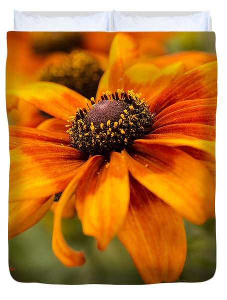 Yellow And Orange Petals Duvet Cover