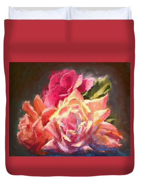 Yellow And Pink Roses Duvet Cover
