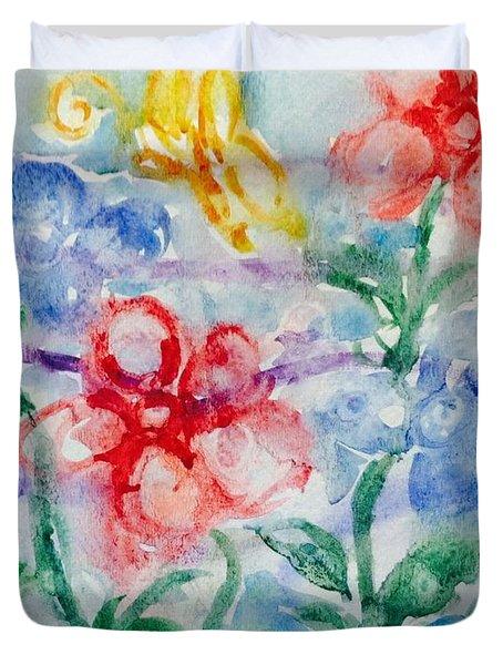 Yellow Butterfly On Flower Garden Duvet Cover