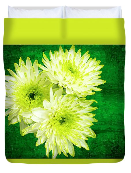 Yellow Chrysanthemums On A Green Background. Duvet Cover by Paul Cullen