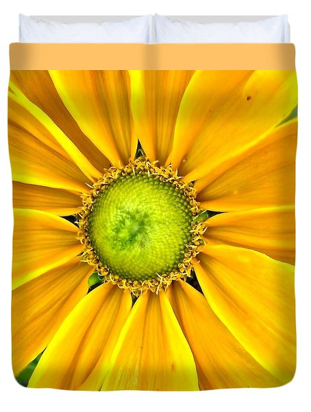 Yellow Daisy Duvet Cover by Stephanie Moore
