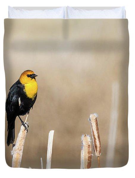 Yellow Headed Blackbird Duvet Cover