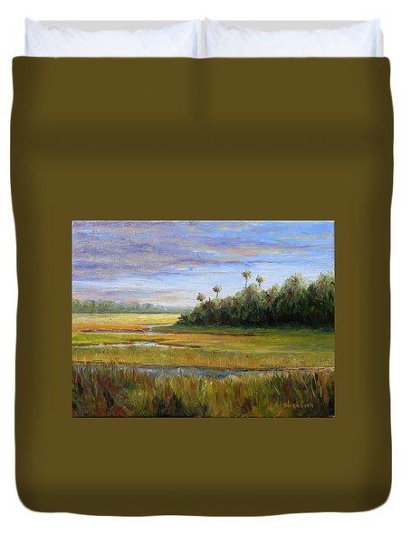 Yellow Marsh Duvet Cover by Beth Maddox