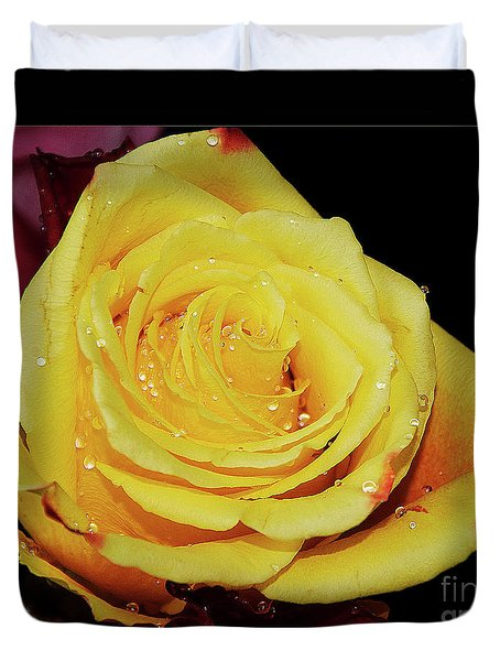 Duvet Cover featuring the photograph Yellow Rose by Elvira Ladocki