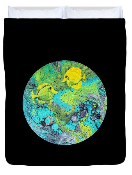 Duvet Cover featuring the painting Yellow Tang by Darice Machel McGuire