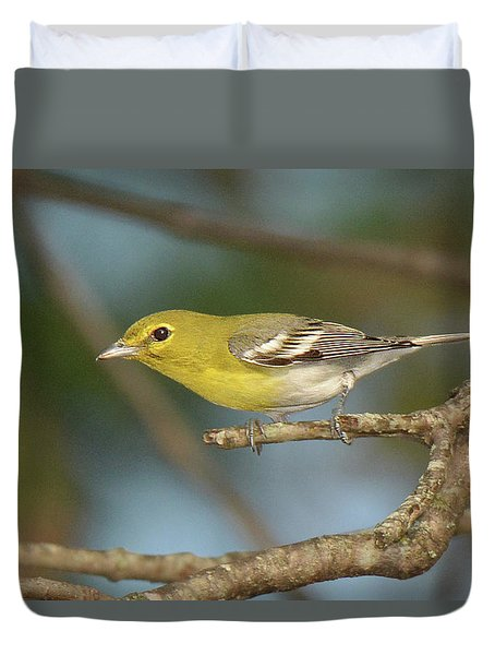 Yellow-throated Vireo Duvet Cover